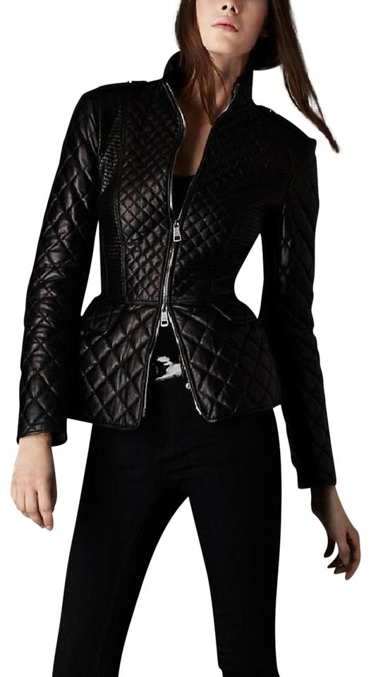35e9daff2a81e Burberry Black Diamond Quilted Lambskin Biker Coat Jacket Size 6 (S) 70%  off retail