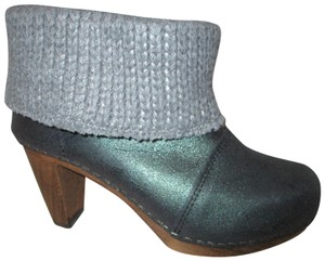 Sanita Leather Bootie Wooden Boots grey Mules
