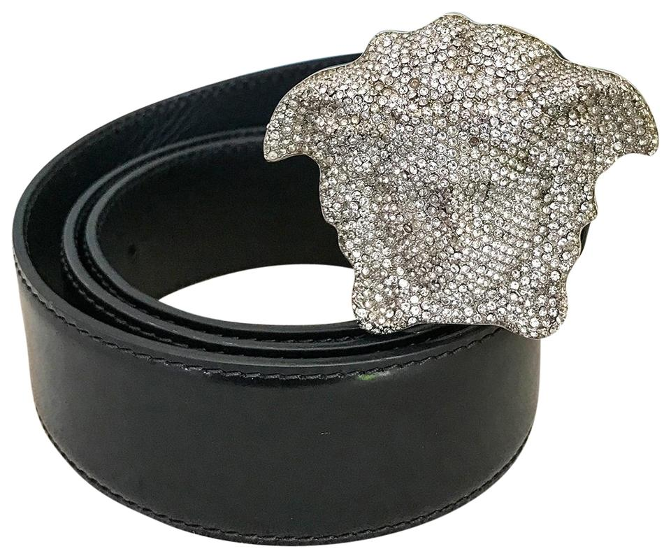 Versace Black Leather Crystal Medusa Head Belt 92 Off Retail