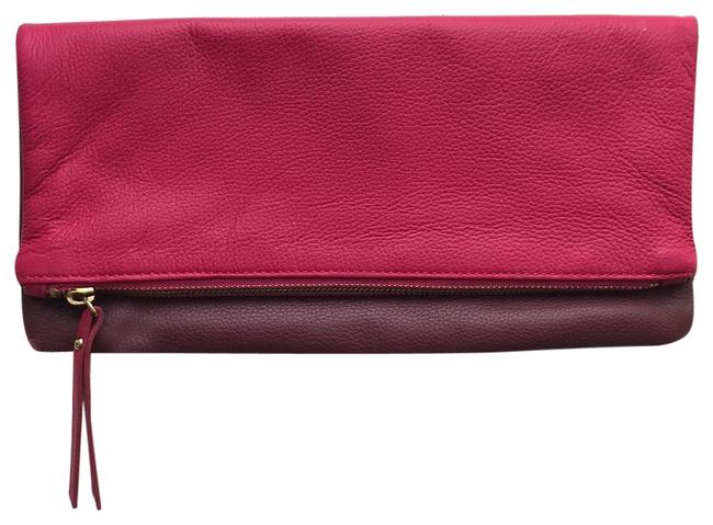 Item - Fold Over Pink and Wine Leather Clutch