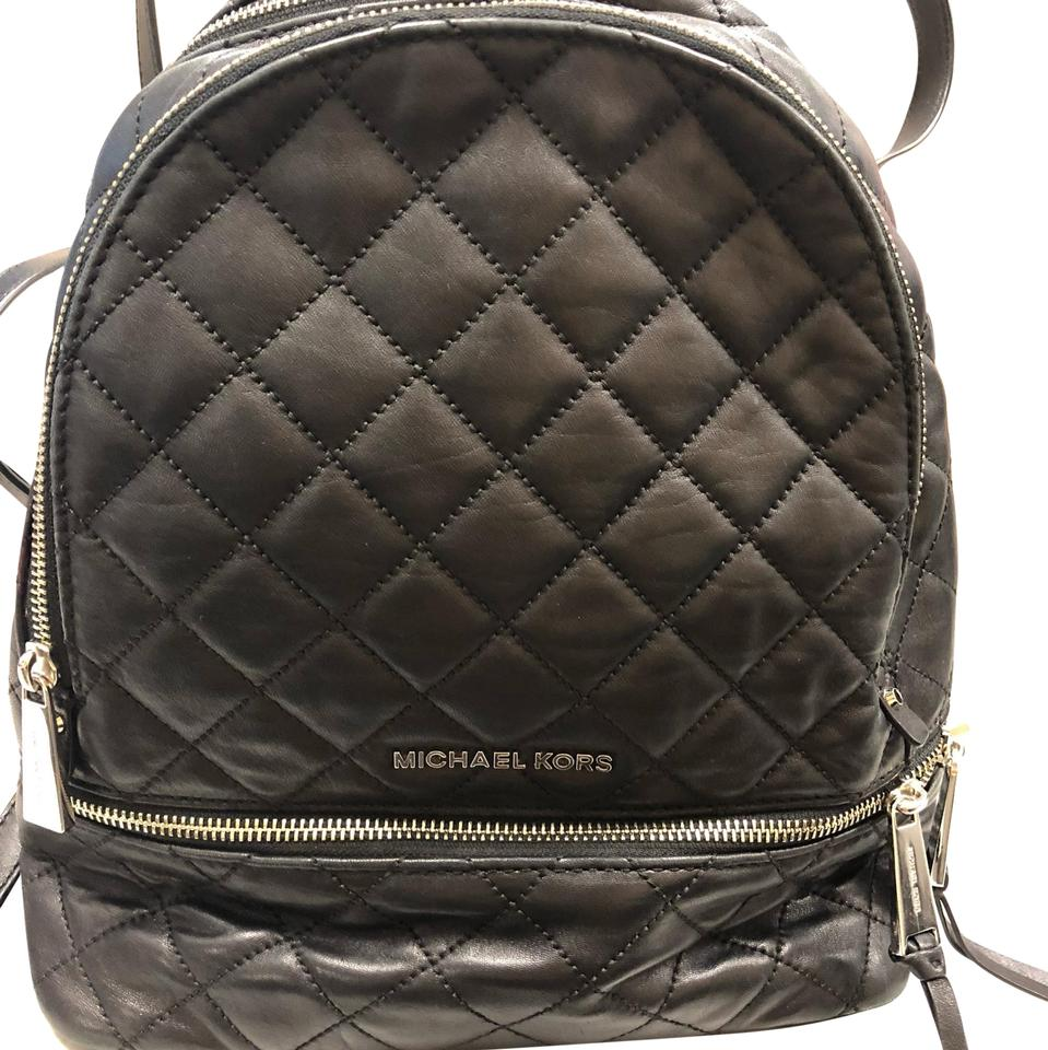 d2aa28943c72 Michael Kors Rhea Med Quilted Black Lambskin Leather Backpack - Tradesy