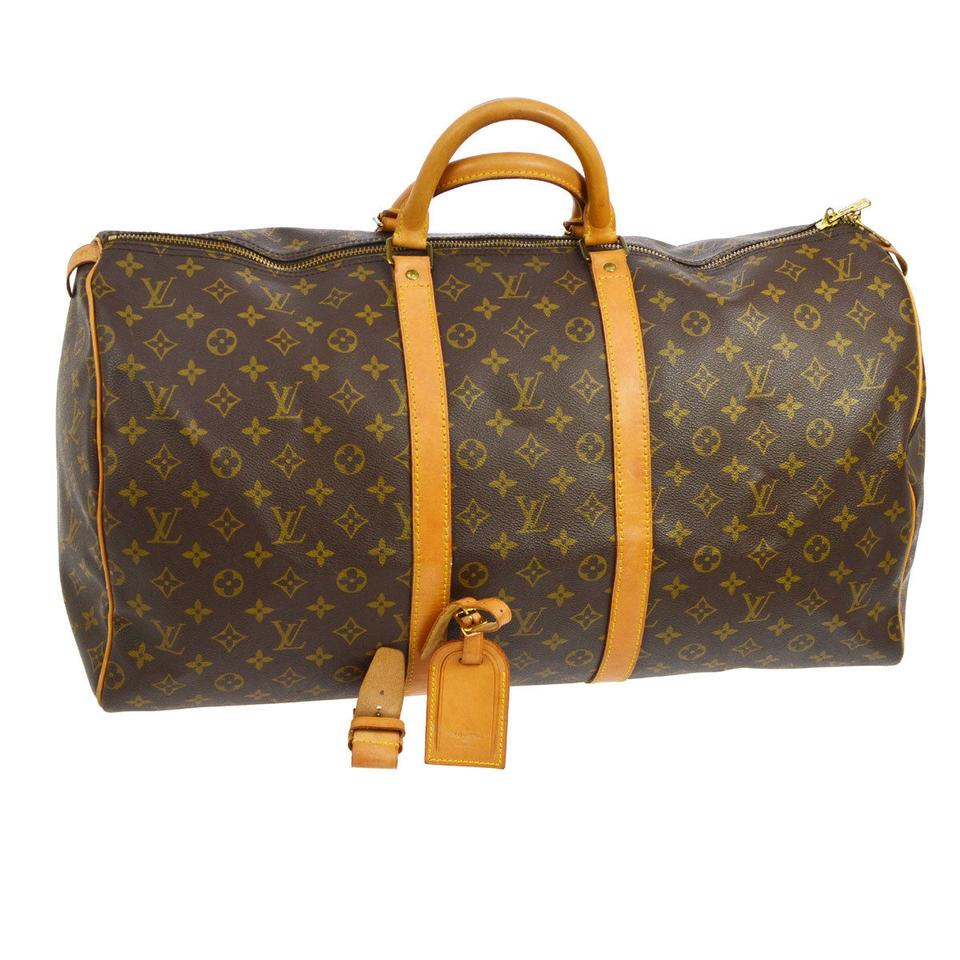 louis vuitton keepall monogram leather weekend travel bag tradesy. Black Bedroom Furniture Sets. Home Design Ideas