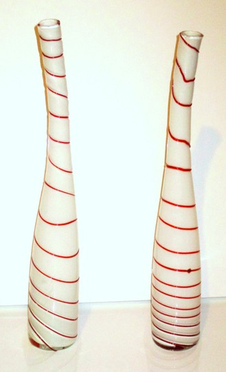 Murano Red White Art Glass Peppermint Striped Vases - 2 Centerpiece