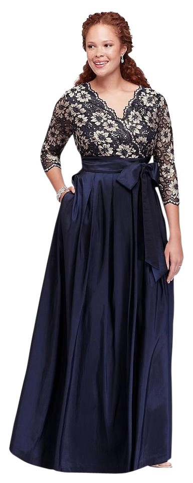Jessica Howard Blue Plus-size Lace and Shantung Ball Gown (Size-14w) Long  Formal Dress Size 20 (Plus 1x) 44% off retail