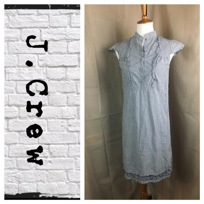 Item - Gray/White Striped Mid-length Work/Office Dress Size 0 (XS)