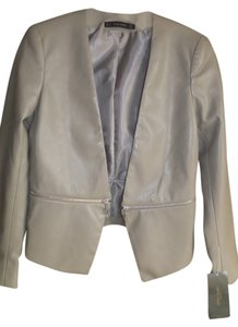 Zara Faux Leather Zipper Detail Mink (Tan) Blazer