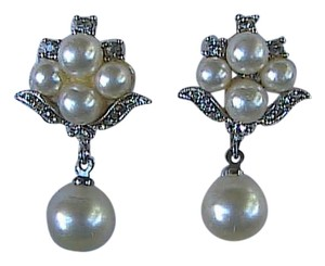 Vintage Faux Pearl Rhinestone Dangle Clip On Earrings