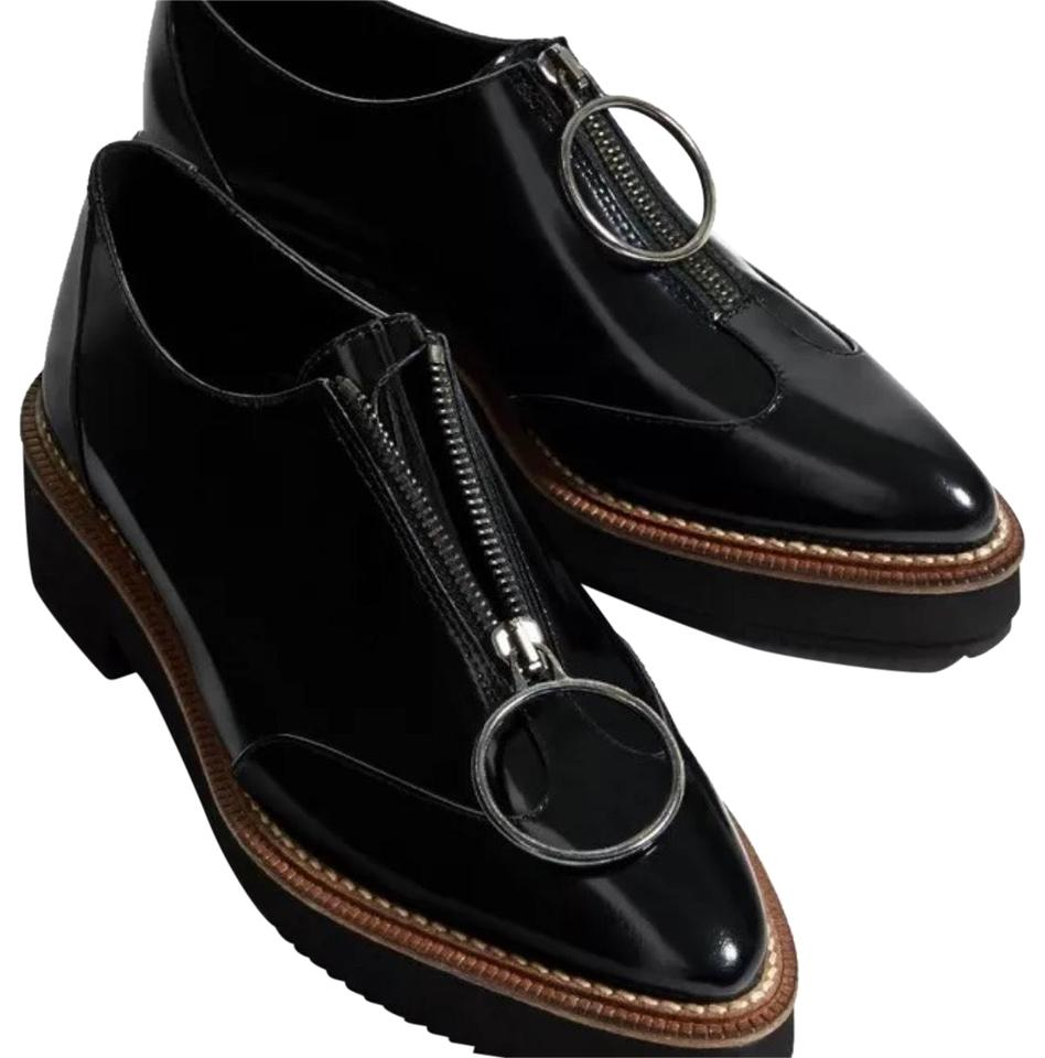 d090ecb5d22 Zara Black Leather Bluchers with Ring Pull-tab Loafers Oxfords ...