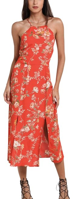 Item - Red New Floral Mid-length Casual Maxi Dress Size 8 (M)