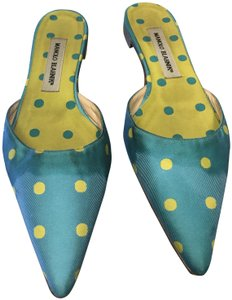 Manolo Blahnik Blue:yellow Mules