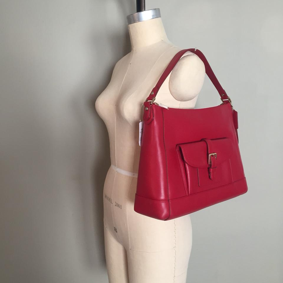 Coach Charlie Hobo Classic Red Leather Shoulder Bag - Tradesy c39891e2098b5