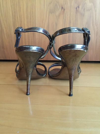 Donna Karan Disco Gold Sandals Strappy Sandal Heels Dkny Bronze Pumps