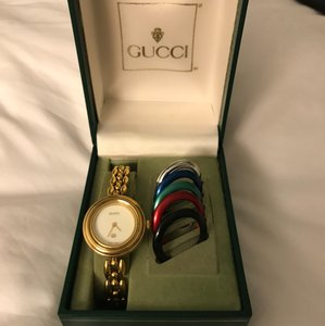 Gucci GUCCI GOLD PLATED INTERCHANGEABLE BEZEL BANGLE WATCH
