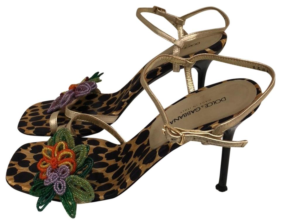 Dolce&Gabbana Gold Dolce with & Gabbana Animal Print with Dolce Colorfull Flower Sandals 5b247a