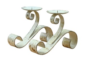 White Cream Gold French Hand Painted Distressed Bronze Silver Candle Holders Tableware