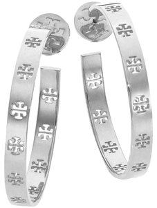 Tory Burch Silver T Pierced Logo Hoop Earrings