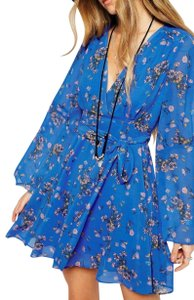 Free People short dress Blue Longsleeve Floral Print Chiffon Belted on Tradesy
