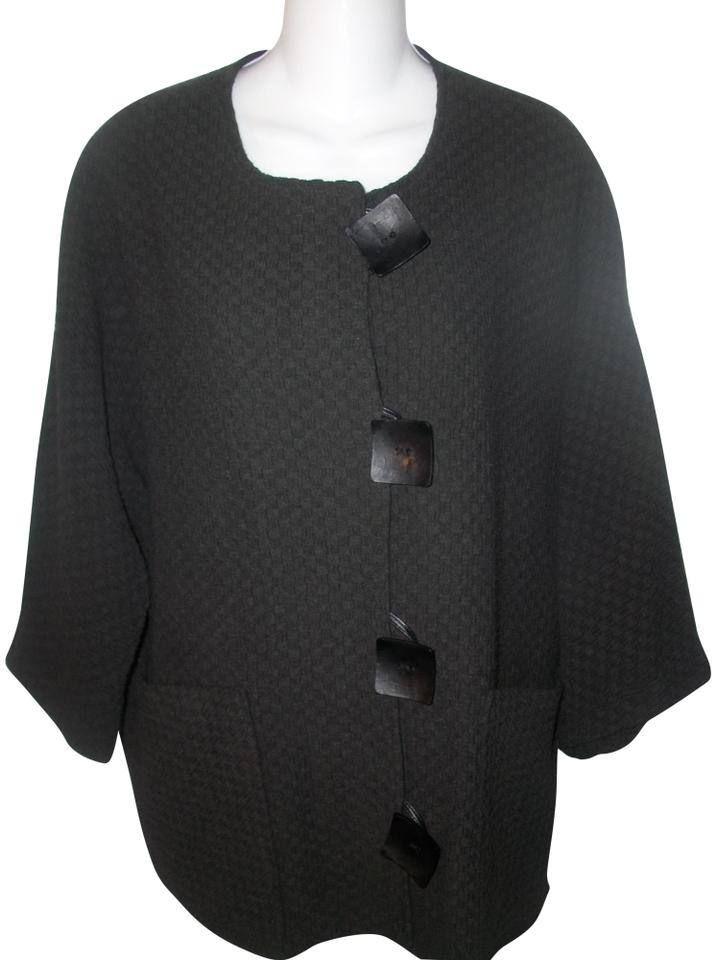 67a06412847 Caroline Rose Black Vintage Woven Textured Button Front Cardigan. Size  20 (Plus  1x)