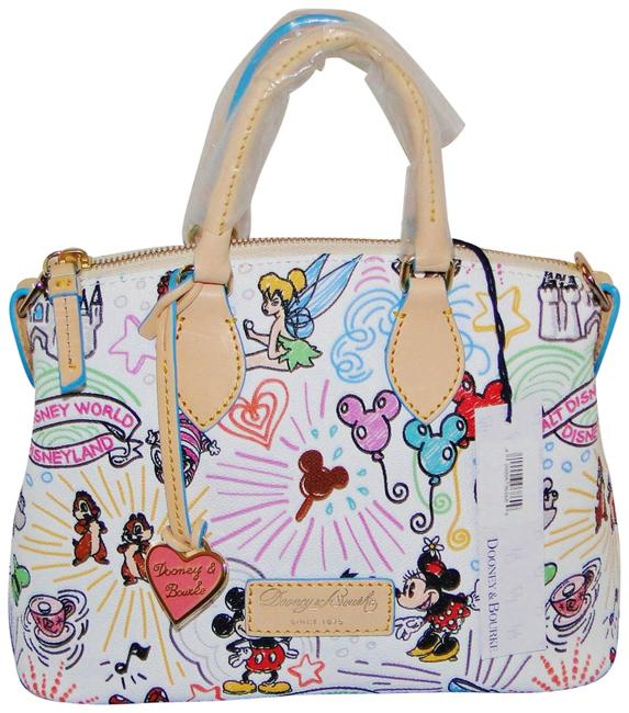 Item - Sketch Mickey White Coated Canvas Cross Body Bag
