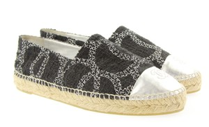 Chanel Classic Metallic Espadrille Black and Silver Flats