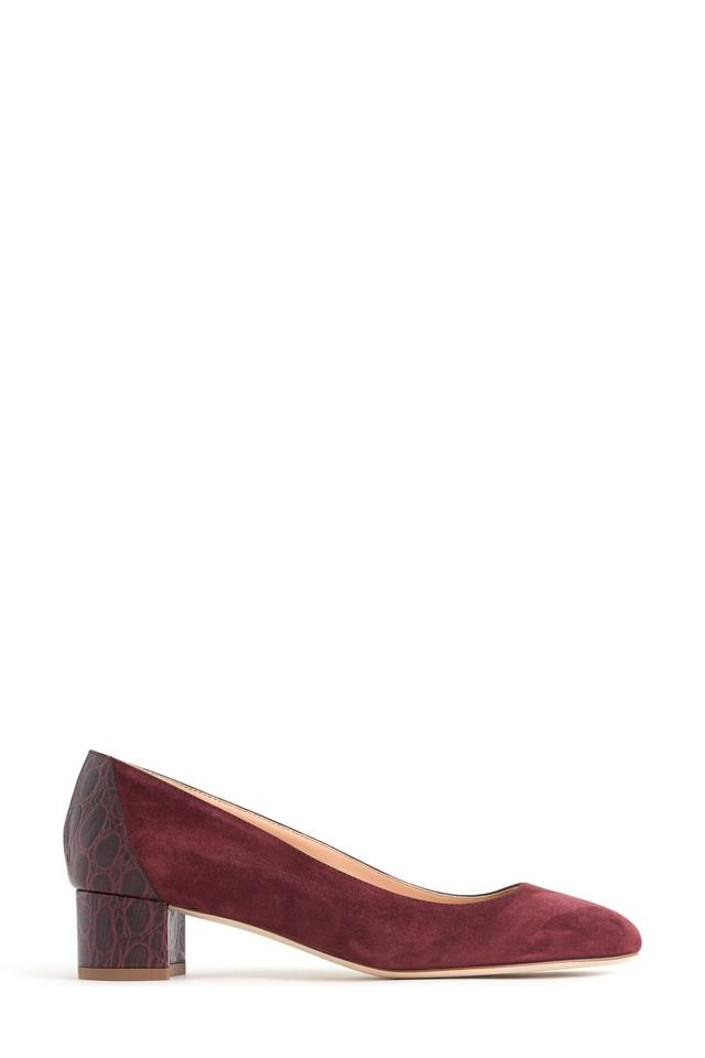 583eaef8e089 J.Crew Red Evelyn Block Heel Croc Embossed Leather Suede Pumps. Size  US 5  ...