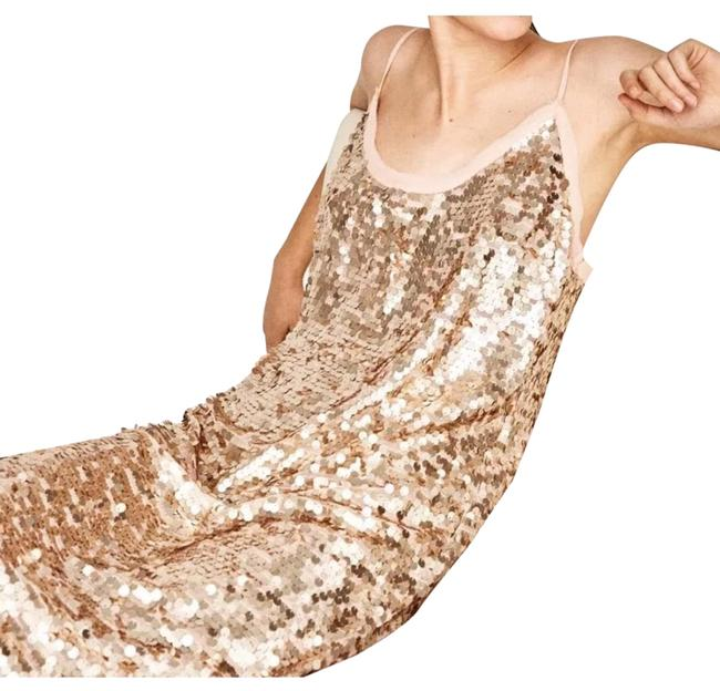 Item - Nude Pink Sequin Mid-length Night Out Dress Size 4 (S)