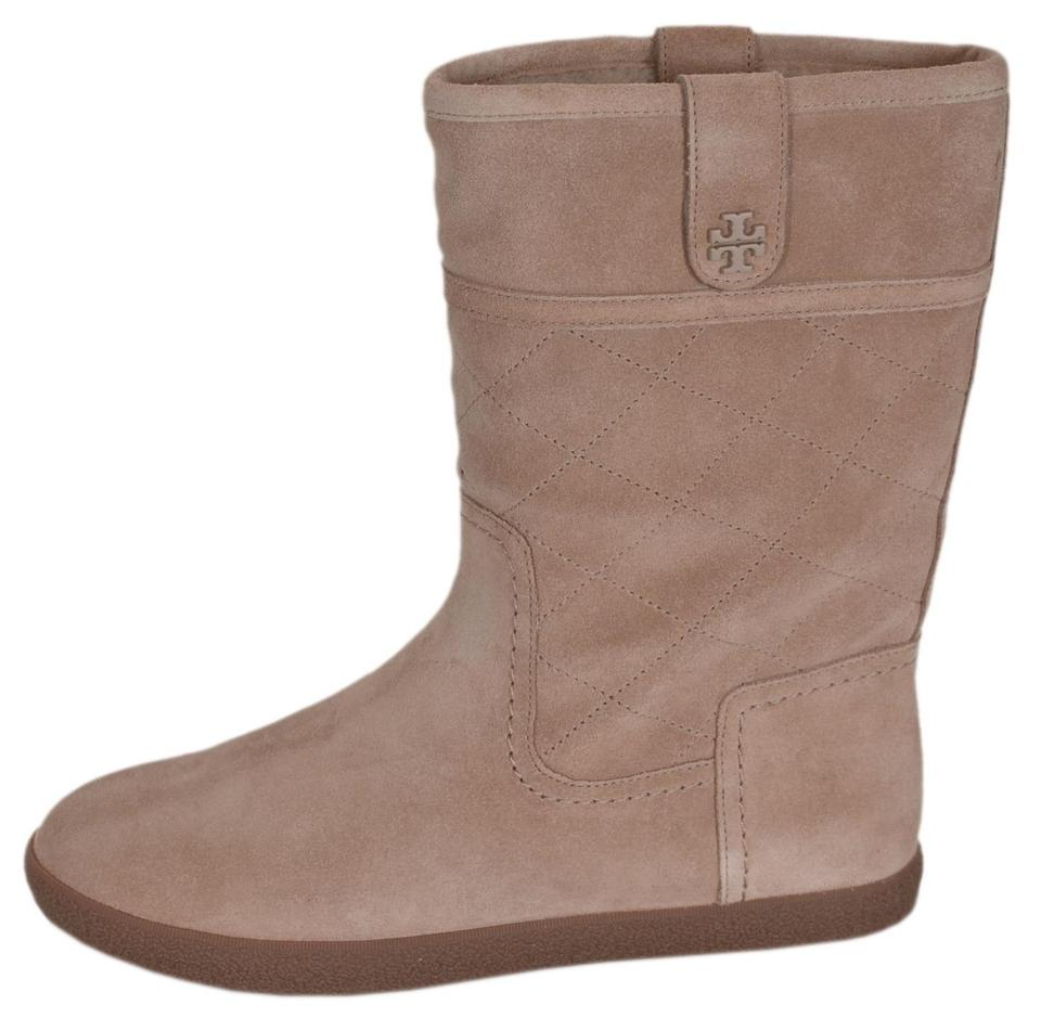 4d765053e31a Tory Burch Camel New Women s Suede Shearling Mid Calf Winter Boots Booties