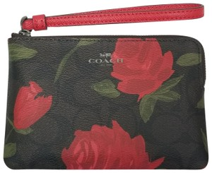 Coach Monogram Leather Floral Corner-zip Interior Wristlet in Brown/Red
