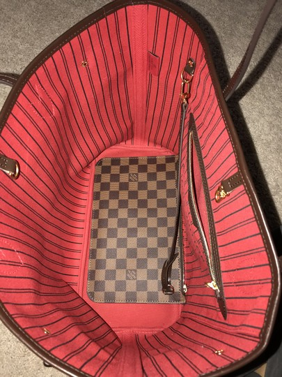 louis vuitton neverfull mm monogram canvas n41358 damier ebene w red interior leather tote tradesy. Black Bedroom Furniture Sets. Home Design Ideas