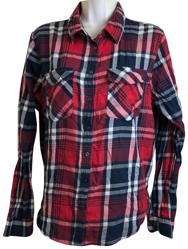 Cotton On Womens Red Plaid Front Shirt Button-down Top Size 12 (L ... 3599ae5d7