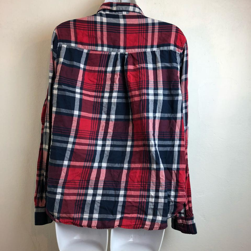 859018219cb Cotton On L Womens Red Plaid Front Shirt Button-down Top Size 12 (L ...