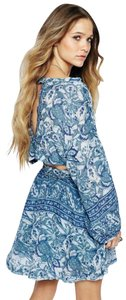 Free People short dress Blue Paisley Print Floral Cut-out Scoop Back on Tradesy
