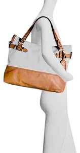 Jessica Simpson Tote in White & Cognac Brown