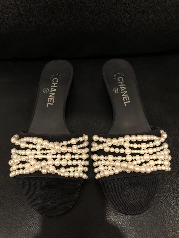 bb2fbf79d92 Chanel Black 17a Satin Ivory White Pearl Cc Logo Mule Slide Flat Sandals  Size EU 38.5 (Approx. US 8.5) Regular (M