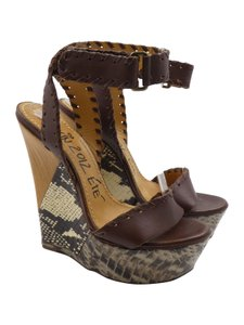 Lanvin Leather Python Ankle Strap Wedge Open Toe brown Sandals