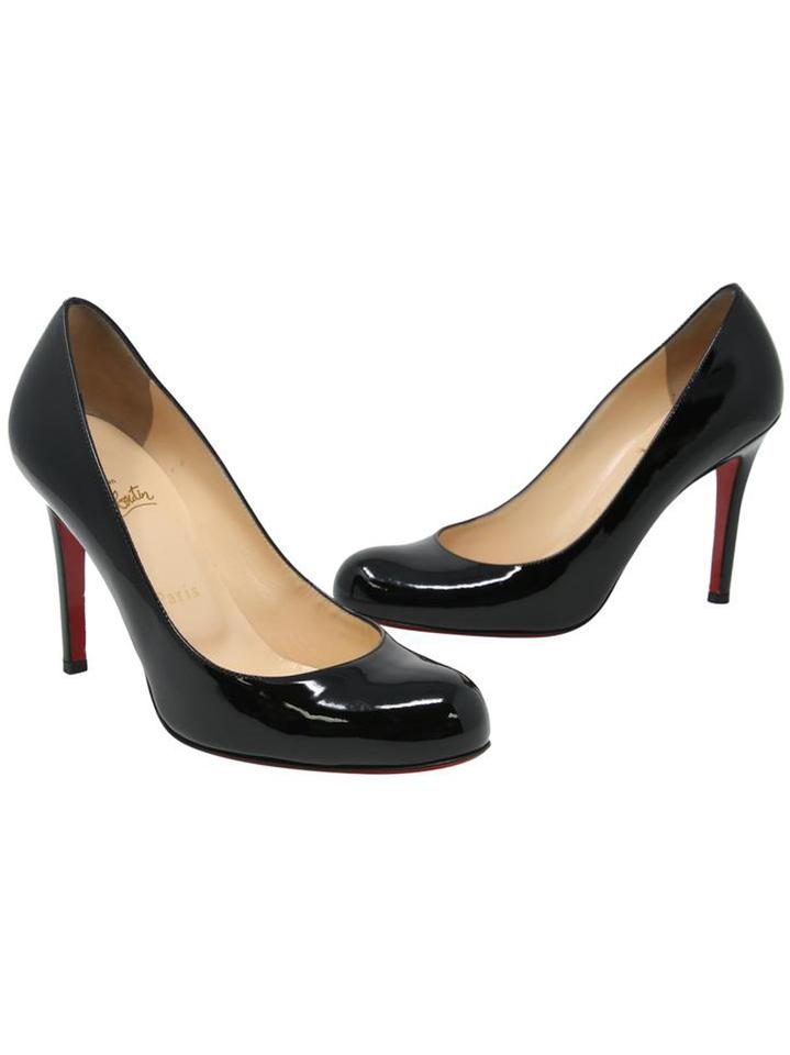 84b13e1419b Christian Louboutin Black Classic  simple Patent Leather Round Pumps ...