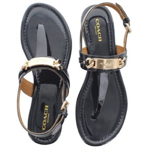 Coach Thong Caterine Patent Leather Black Sandals