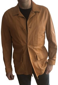 Brioni caramel tan butter Leather Jacket