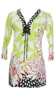 Olian Maternity OLIAN-Maternity-Women-Sz. S Multi-Abstract-Print-Lace-Up-Front-Tunic