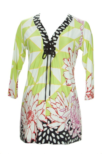 Olian Maternity OLIAN-Maternity-Women-Sz. S Multi-Abstract-Print-Lace-Up-Front-Tunic Image 2
