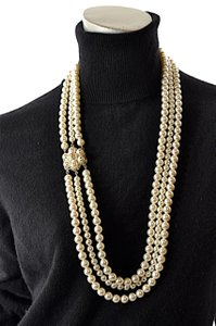 Chanel CHANEL 3 Strand Pearl and Gold NECKLACE Signature Logo