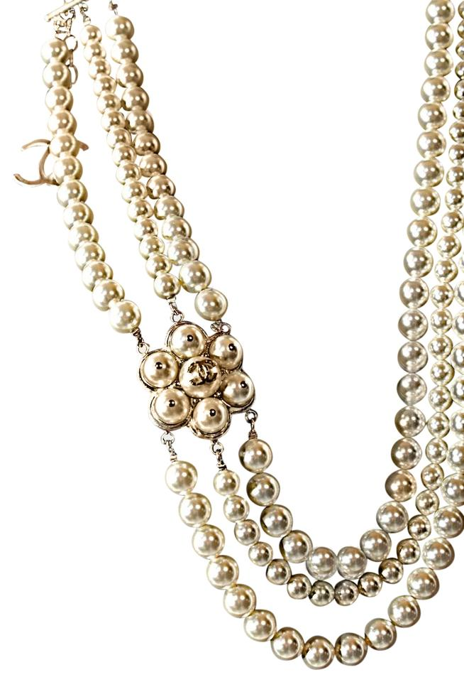 3b4928a0bab1a Chanel CHANEL 3 Strand Pearl and Gold NECKLACE Signature Logo Image 0 ...