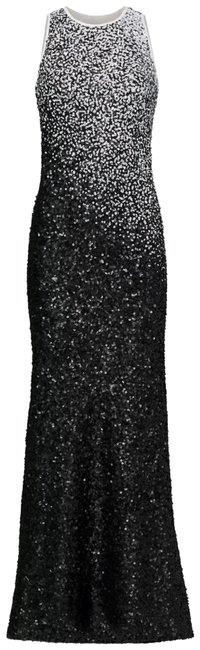 Item - Black and White Ombre Lined Sequin Ball Cocktail Night Out Sheath 0 Long Formal Dress Size 0 (XS)