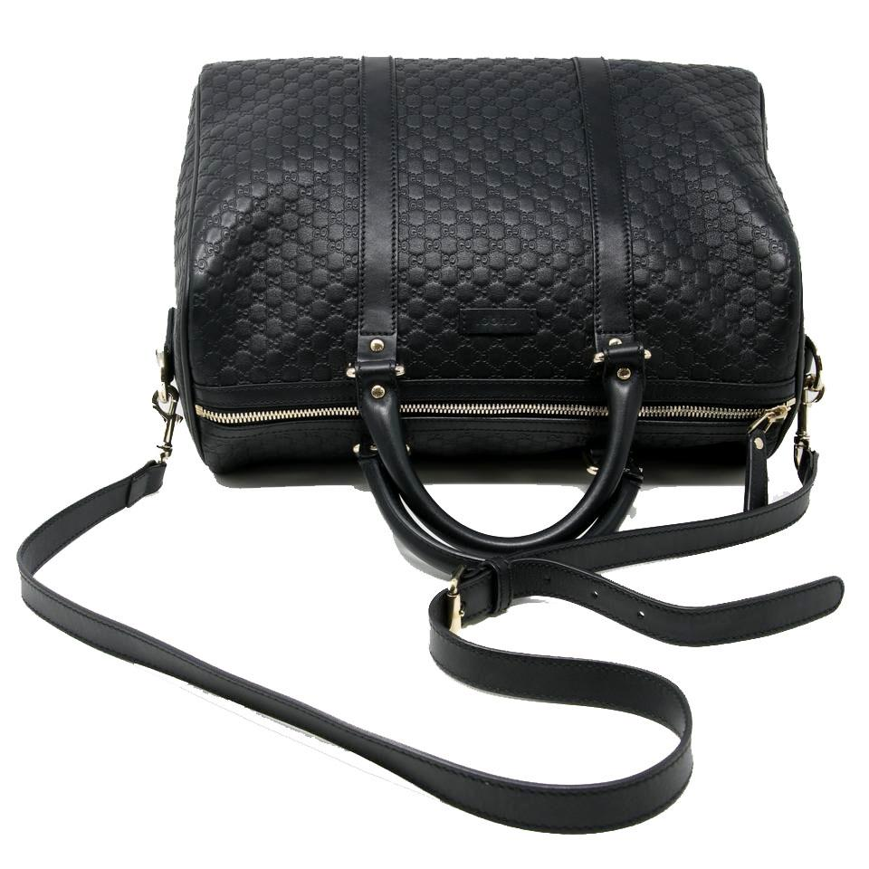abd99133ba9 Gucci Boston Signature Micro Guccissima Gg Medium Joy Black Leather Satchel  - Tradesy