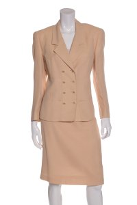Louis Feraud Cream Vintage Woven Skirt Suit
