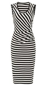 Black and white Maxi Dress by Nicole Miller Cocktail Night Out Striped Spandex