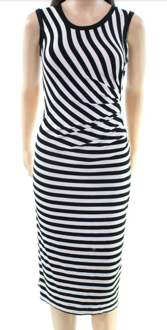 Black and white Maxi Dress by Nicole Miller Cocktail Night Out Striped Spandex Image 1