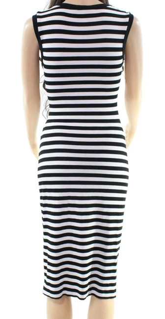 Black and white Maxi Dress by Nicole Miller Cocktail Night Out Striped Spandex Image 2