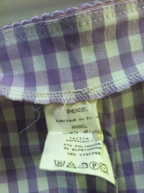Shendel Paris Made In France Checkered Check Capri/Cropped Pants Lavender Image 10