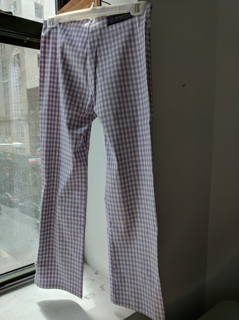 Shendel Paris Made In France Checkered Check Capri/Cropped Pants Lavender Image 6